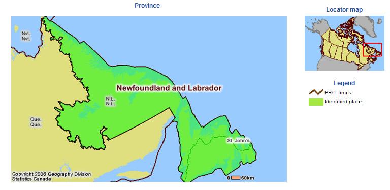 Visual Census Map Newfoundland And Labrador - Newfoundland and labrador map