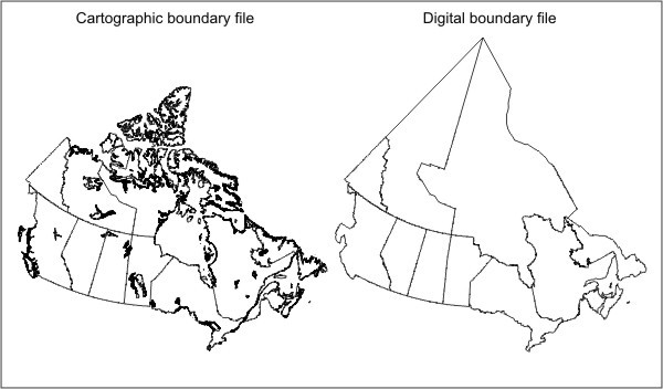 Figure 1.4 Example of a cartographic boundary file and a digital boundary file (provinces and territories)