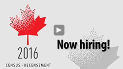 Image of a stylized maple leaf with the year 2016. Additional text reads: Census-Recensement, now hiring - thumbnail