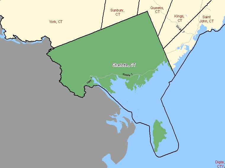 Map: Charlotte, County, Census Division (shaded in green), New Brunswick