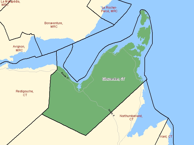 Map: Gloucester, County, Census Division (shaded in green), New Brunswick