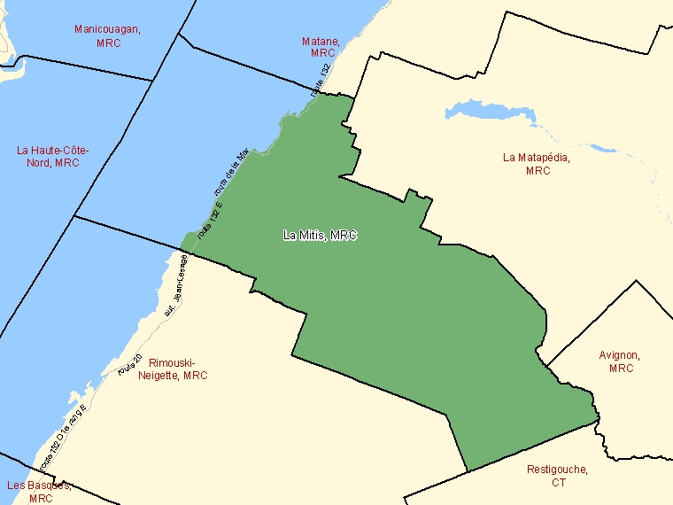 Map: La Mitis, Municipalité régionale de comté, Census Division (shaded in green), Quebec