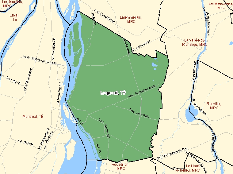 Map: Longueuil, Territoire équivalent, Census Division (shaded in green), Quebec
