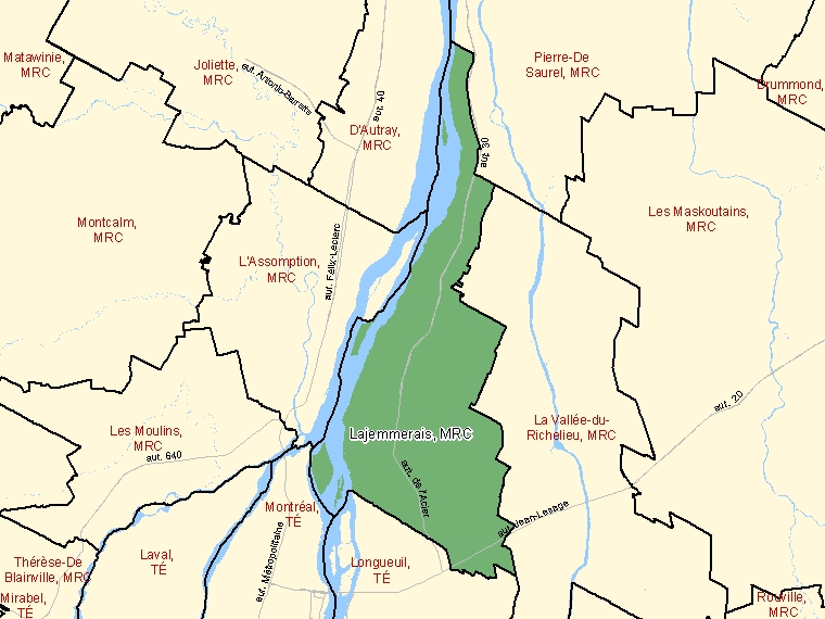 Map: Lajemmerais, Municipalité régionale de comté, Census Division (shaded in green), Quebec