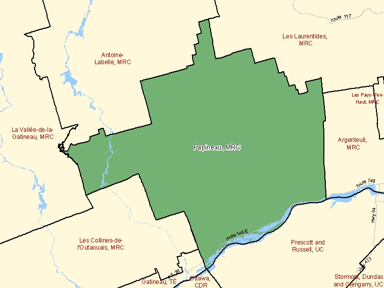 Map: Papineau, Municipalité régionale de comté, Census Division (shaded in green), Quebec