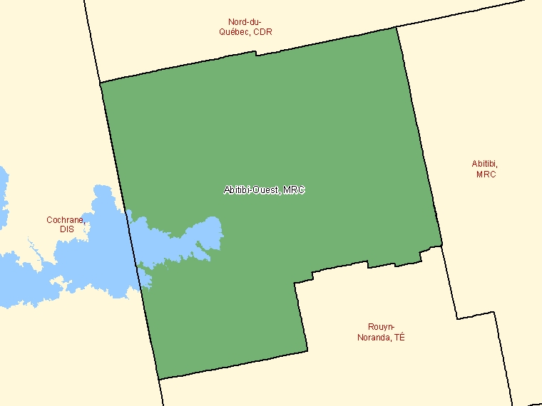 Map: Abitibi-Ouest, Municipalité régionale de comté, Census Division (shaded in green), Quebec