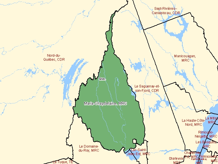 Map: Maria-Chapdelaine, Municipalité régionale de comté, Census Division (shaded in green), Quebec