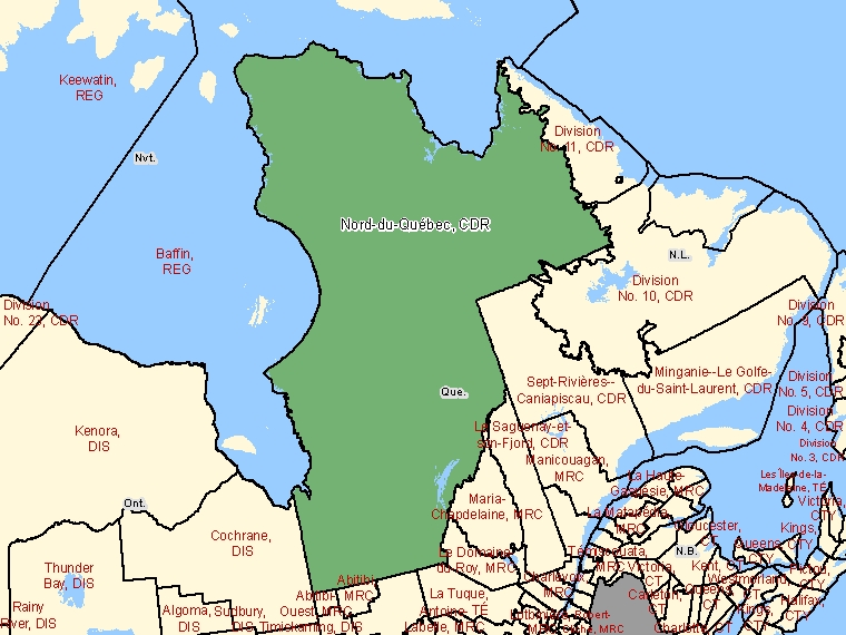 Map: Nord-du-Québec, Census division, Census Division (shaded in green), Quebec