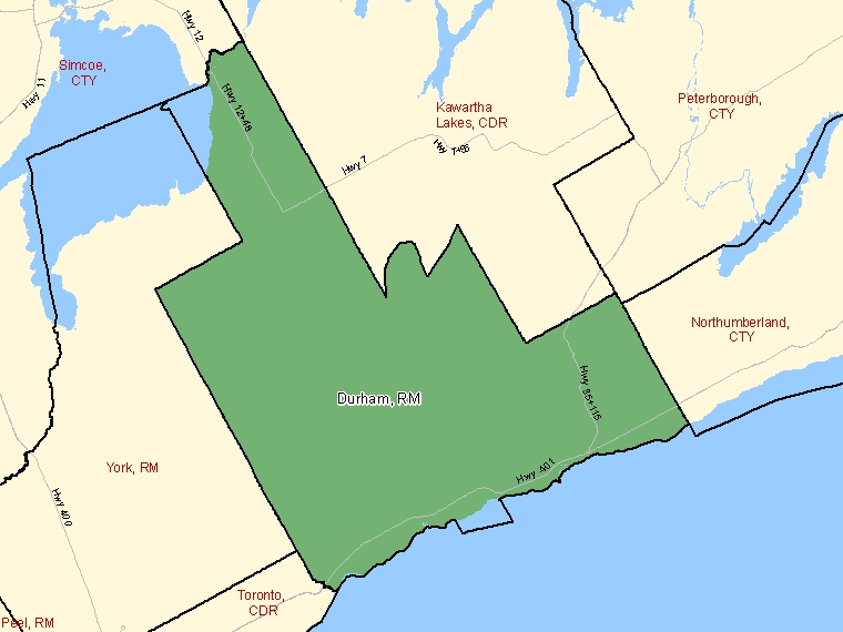 Map: Durham, Regional municipality, Census Division (shaded in green), Ontario