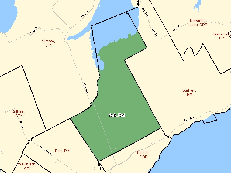 Map: York, Regional municipality, Census Division (shaded in green), Ontario