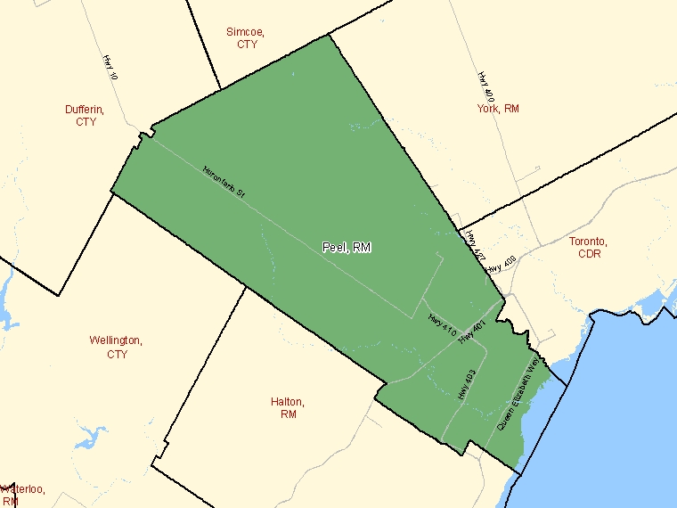 Map: Peel, Regional municipality, Census Division (shaded in green), Ontario