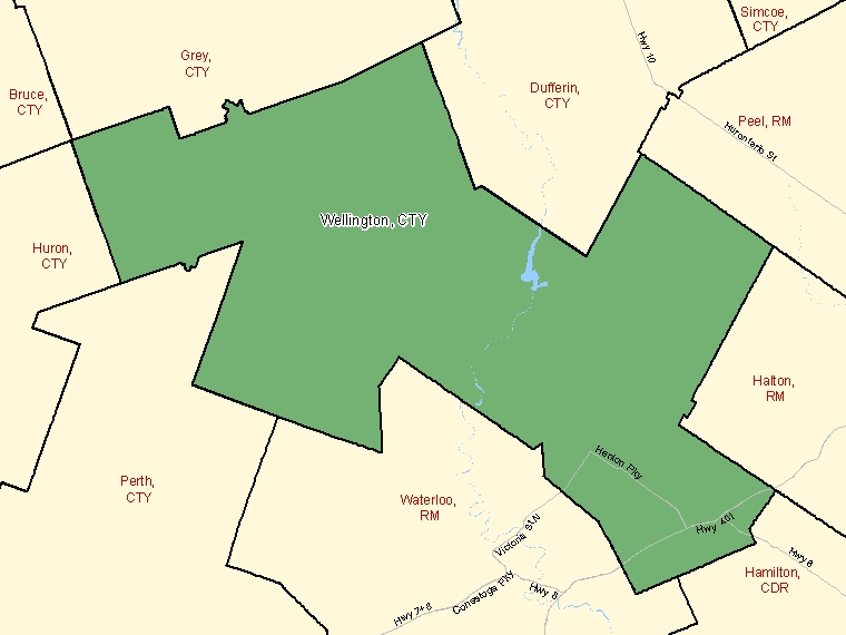 Map: Wellington, County, Census Division (shaded in green), Ontario