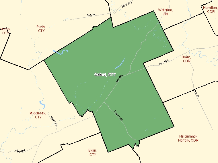 Map: Oxford, County, Census Division (shaded in green), Ontario