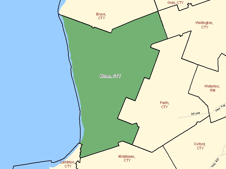 Map: Huron, County, Census Division (shaded in green), Ontario