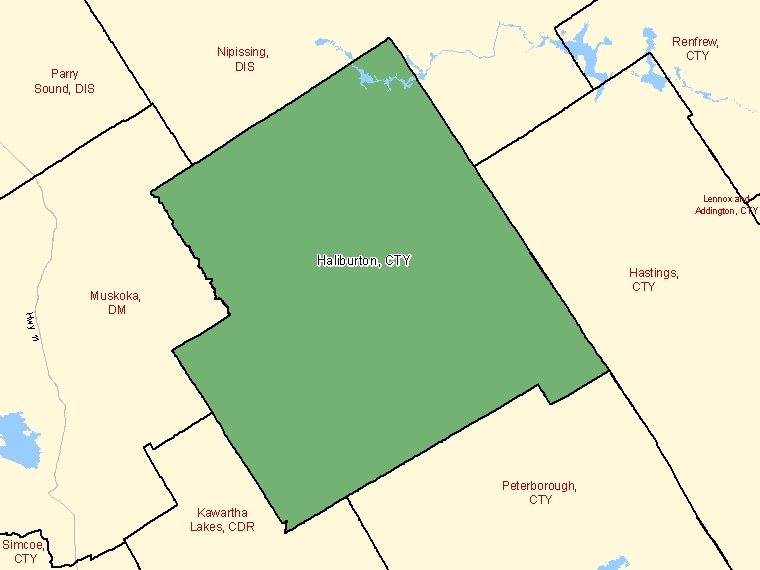 Map: Haliburton, County, Census Division (shaded in green), Ontario