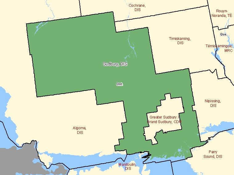 Map: Sudbury, District, Census Division (shaded in green), Ontario