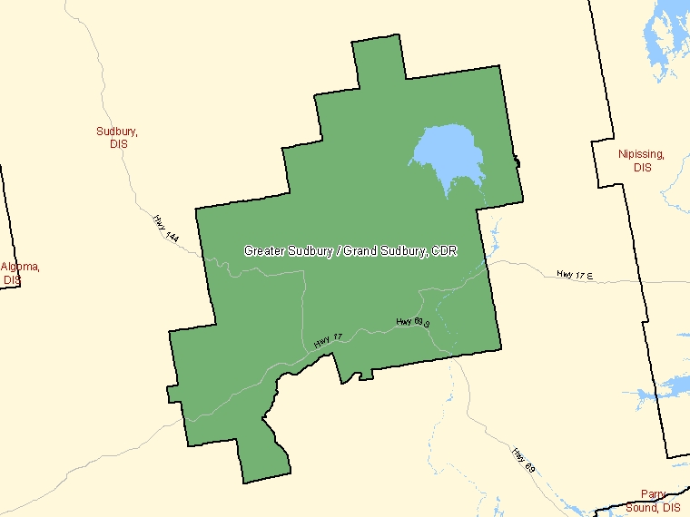 Map: Greater Sudbury / Grand Sudbury, Census division, Census Division (shaded in green), Ontario