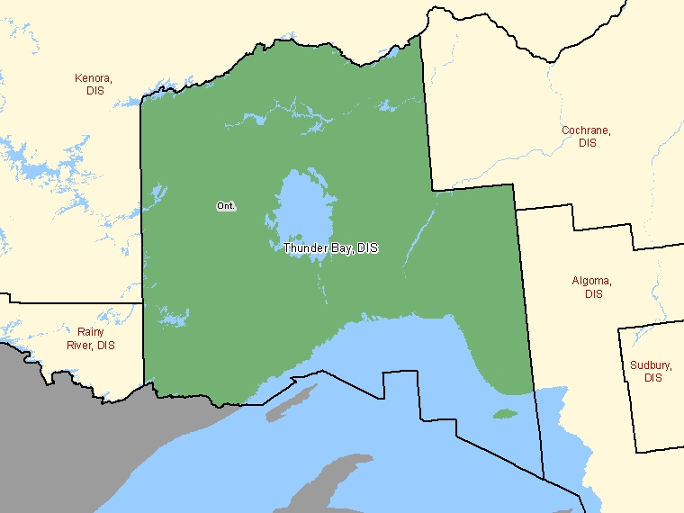 Map: Thunder Bay, District, Census Division (shaded in green), Ontario