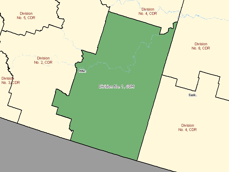 Map: Division No.  1, Census division, Census Division (shaded in green), Alberta