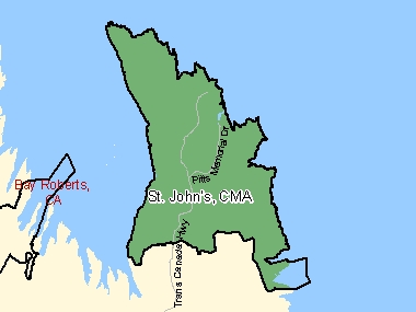 Map of St. John's, CMA (shaded in green), Newfoundland and Labrador