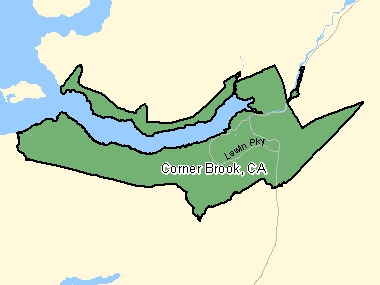 Map of Corner Brook, CA (shaded in green), Newfoundland and Labrador