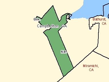 Map of Campbellton, CA (shaded in green), New Brunswick