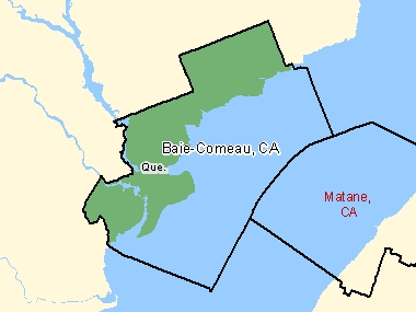 Map of Baie-Comeau, CA (shaded in green), Quebec
