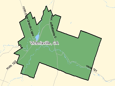 Map of Victoriaville, CA (shaded in green), Quebec