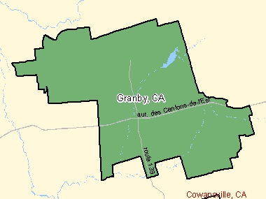 Map of Granby, CA (shaded in green), Quebec