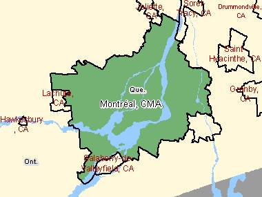 Map of Montréal, CMA (shaded in green), Quebec