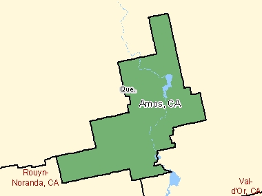 Map of Amos, CA (shaded in green), Quebec
