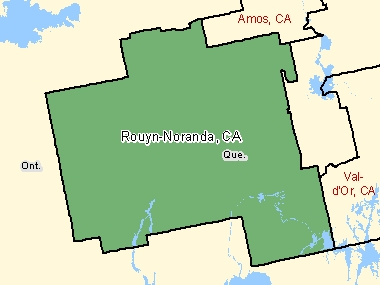 Map of Rouyn-Noranda, CA (shaded in green), Quebec