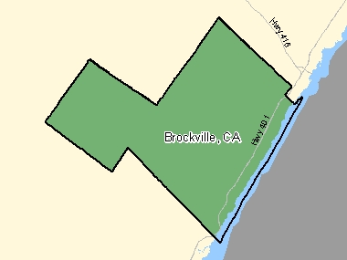 Map of Brockville, CA (shaded in green), Ontario
