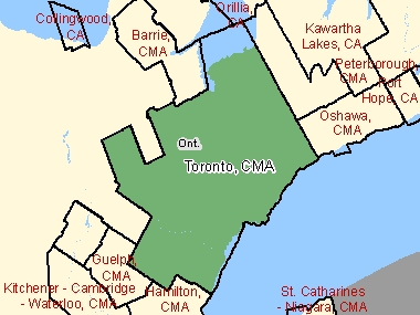 Map of Toronto, CMA (shaded in green), Ontario