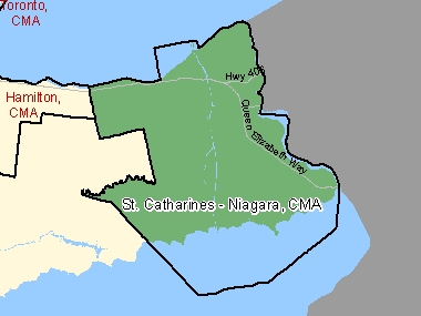 Map of St. Catharines - Niagara, CMA (shaded in green), Ontario