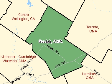 Map of Guelph, CMA (shaded in green), Ontario