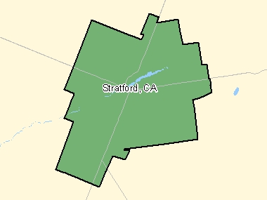 Map of Stratford, CA (shaded in green), Ontario