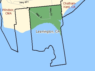 Map of Leamington, CA (shaded in green), Ontario