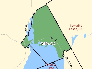 Map of Orillia, CA (shaded in green), Ontario