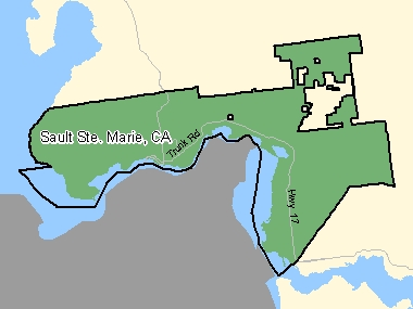 Map of Sault Ste. Marie, CA (shaded in green), Ontario