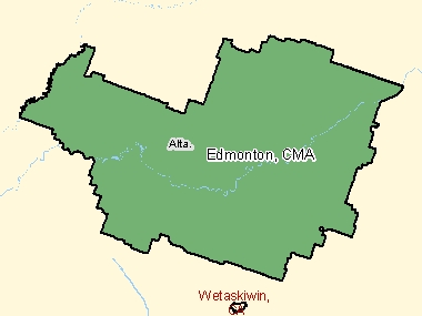 Map of Edmonton, CMA (shaded in green), Alberta