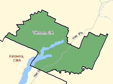 Map of Vernon, CA (shaded in green), British Columbia