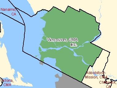 Map of Vancouver, CMA (shaded in green), British Columbia