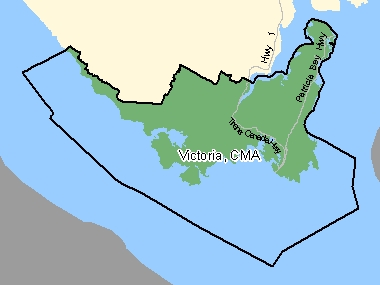 Map of Victoria, CMA (shaded in green), British Columbia