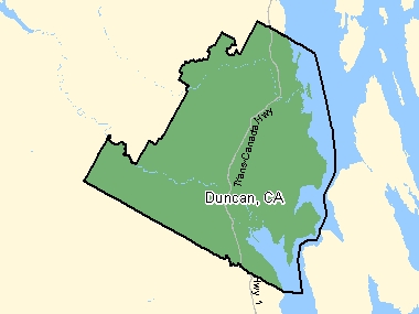 Map of Duncan, CA (shaded in green), British Columbia