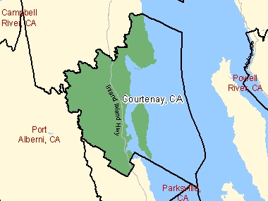 Map of Courtenay, CA (shaded in green), British Columbia