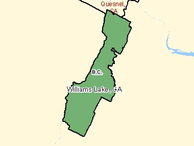 Map of Williams Lake, CA (shaded in green), British Columbia
