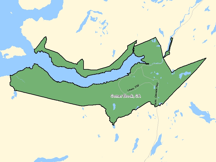 Map : Corner Brook (Census Metropolitan Area / Census Agglomeration) shaded in green