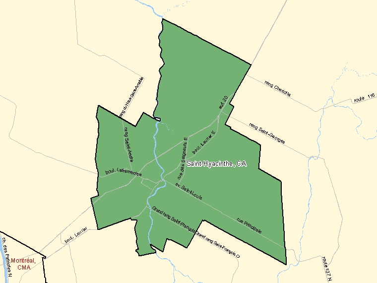 Map : Saint-Hyacinthe (Census Metropolitan Area / Census Agglomeration) shaded in green