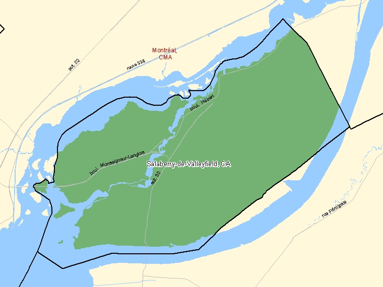 Map : Salaberry-de-Valleyfield (Census Metropolitan Area / Census Agglomeration) shaded in green